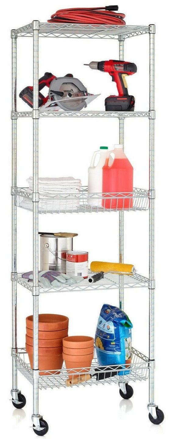5 tier metal shelf with wire storage