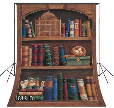 5x7ft ancient library wood bookshelf bookcase vinyl