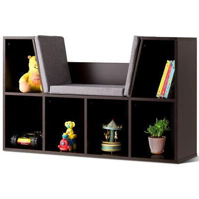 6 Cubby Kid Storage Cabinet Cushioned Bookcase Multi-Purpose