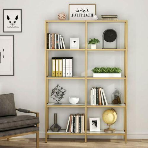 Tribesigns 5-Tier Gold Bookshelf Double Wide Open Bookcase H