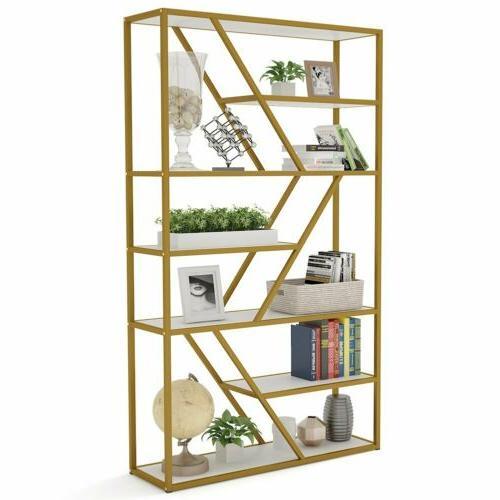 Multifunctional 7 Shelf Bookcase with Gold Sturdy Tube Frame