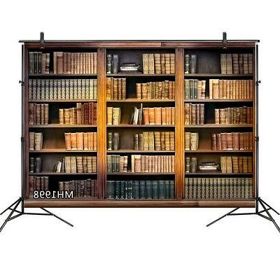 7x5ft Rustic Wood Bookcase Backdrop