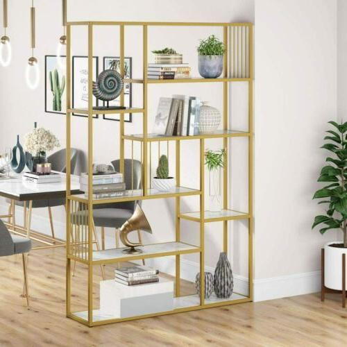 Tribesigns Open Shelves Etagere Bookcase with Marble,Modern Shelf