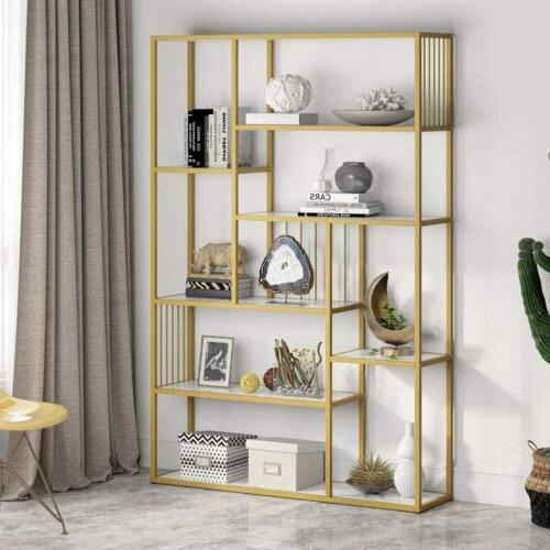 Tribesigns 8 Open Shelves Etagere Bookcase Marble,Modern Display Shelf