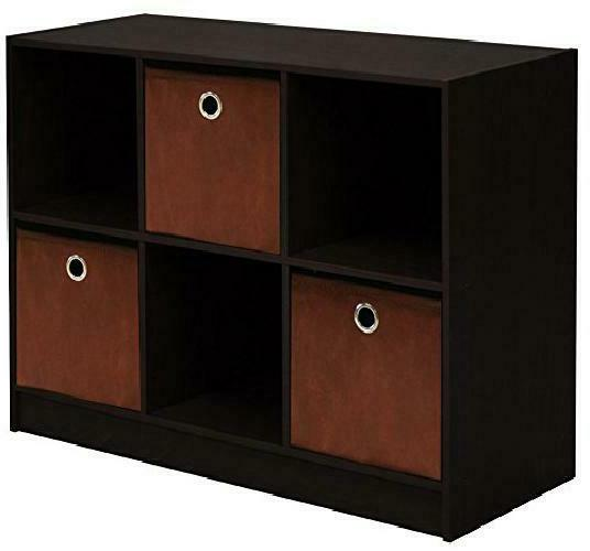 Furinno 99940 Ex/Br 3X2 Bookcase Storage With Bins, Espresso