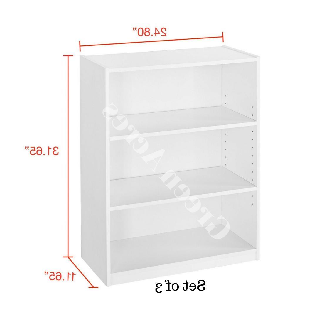 Adjustable 3 Bookcase Storage Book Shelving Set 3
