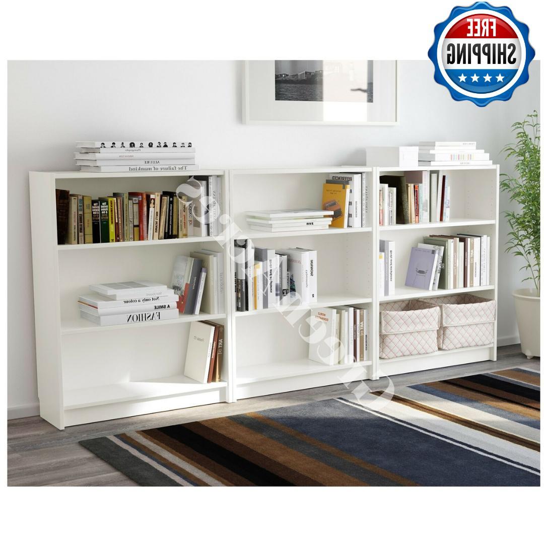 adjustable 3 shelf white bookcase storage book