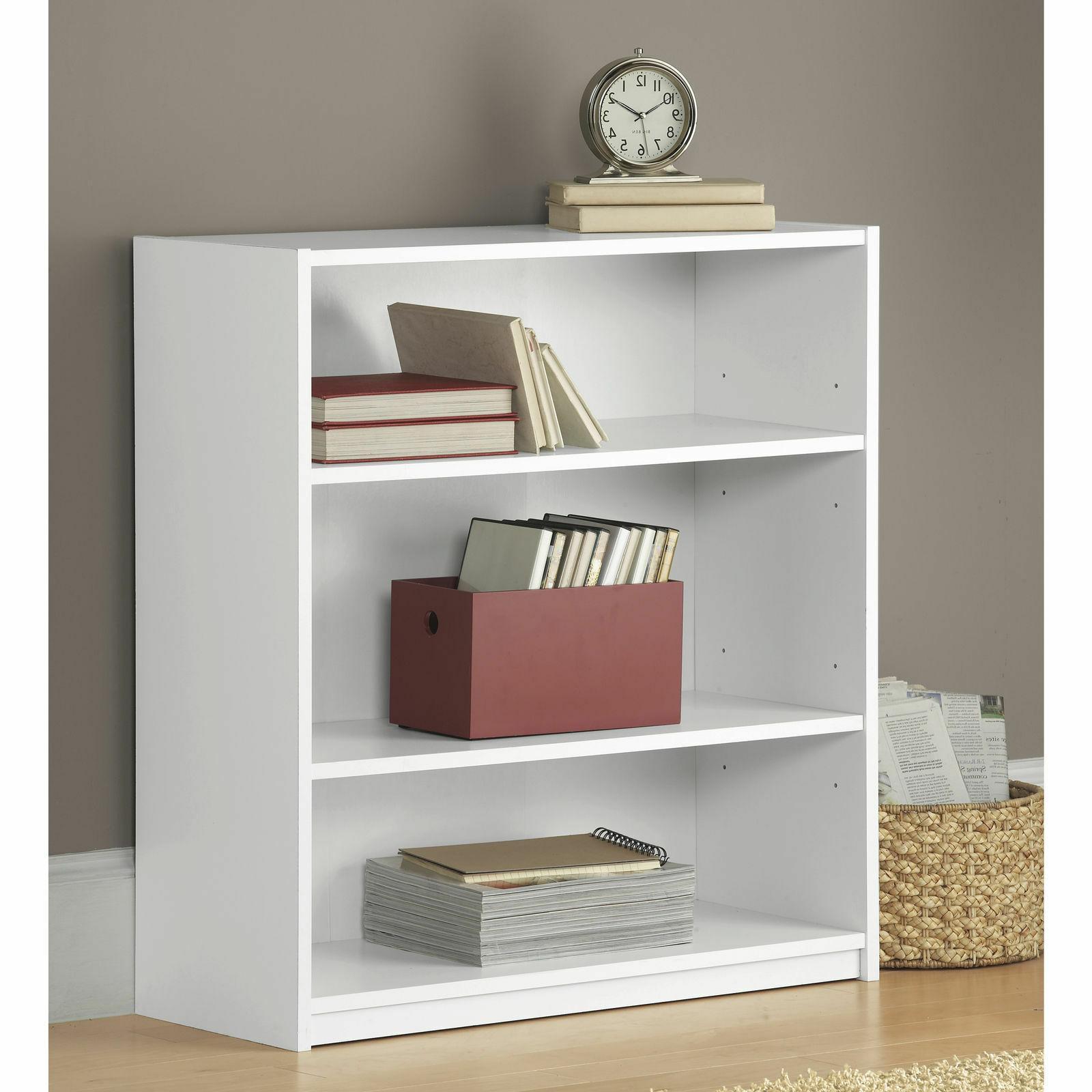 Adjustable Wood Bookcase Storage Wide Shelving
