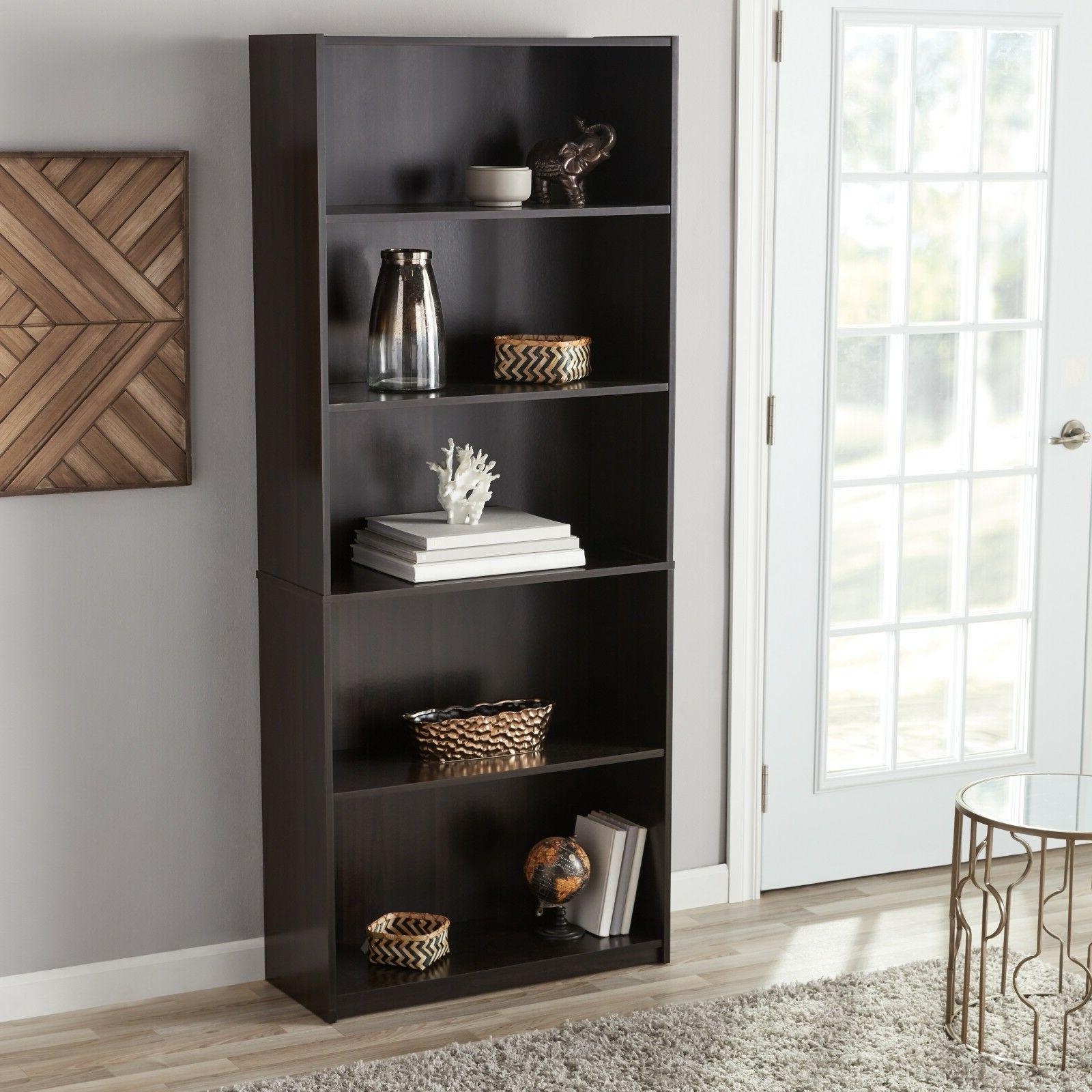 adjustable 5 shelf bookcase wood book shelving