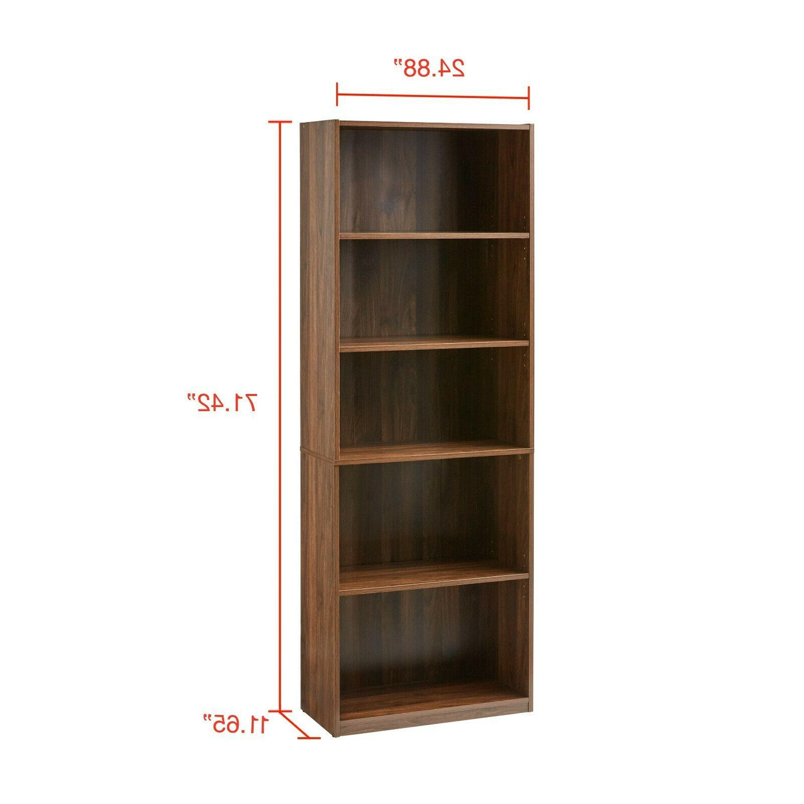 "71"" 5-Shelf Bookcase Closed Bookshelf"