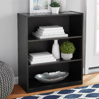 Black 3 Shelf Bookcase Tower Furniture Storage Organization