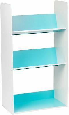 Bookcase 3 Shelf Playroom Angled Bookshelf Storage Organizer