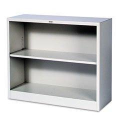 Bookcase, Steel, 2 Shelf, Light Gray