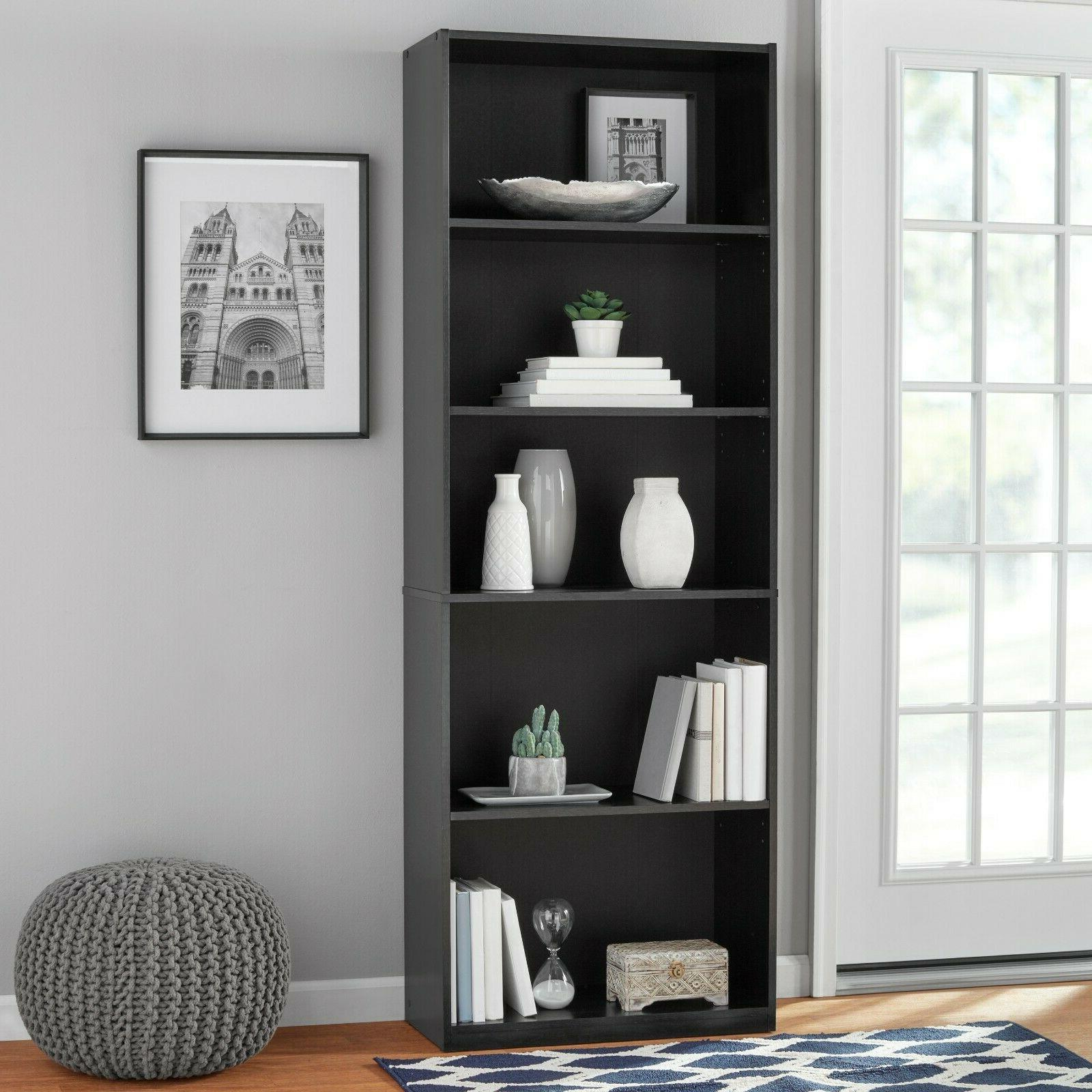 "71"" Tall 5-Shelf Closed Adjustable Bookshelf Storage Shelves"