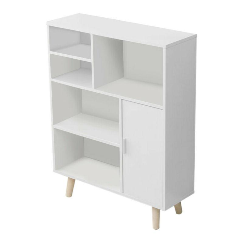 Wood 3-Tier Shelves Cabinets Display White
