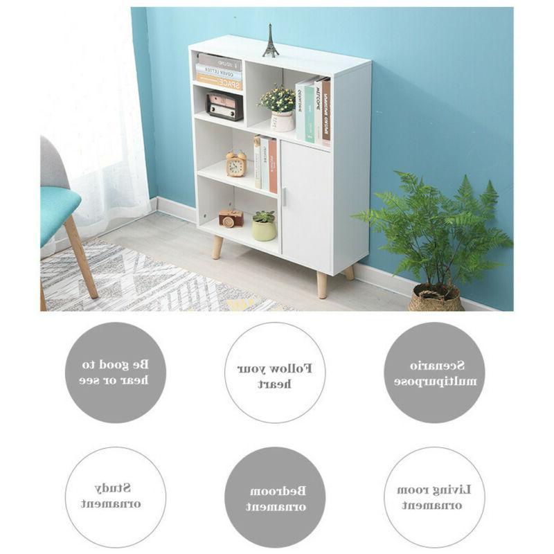 Wood 3-Tier Shelves Cabinets Display Shelf White