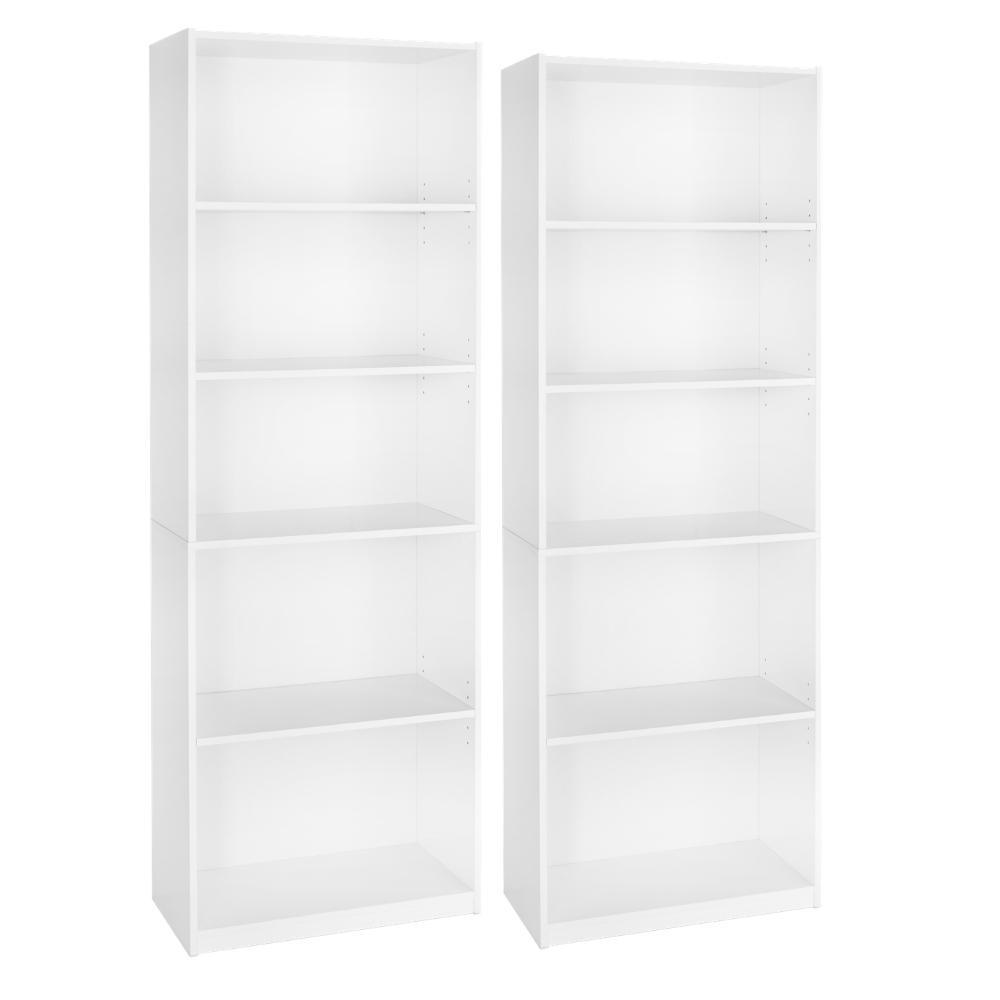 Bookcase Wide 5 Shelf Set of 2 Pcs Adjustable Wood Bookshelf