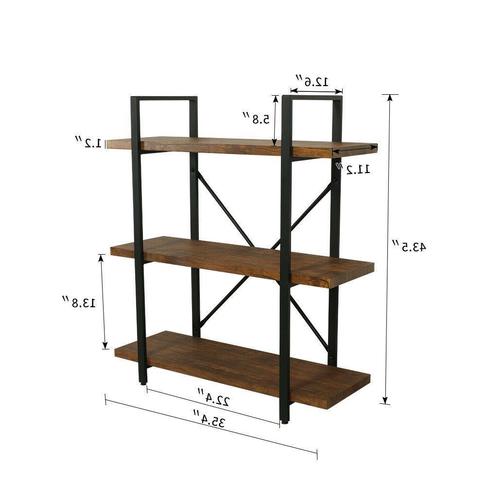 3 Bookcases Shelves Rustic Unit