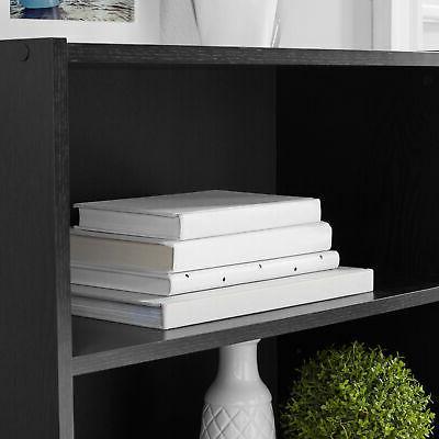 Bookshelf Wood Wide Storage Display Adjustable