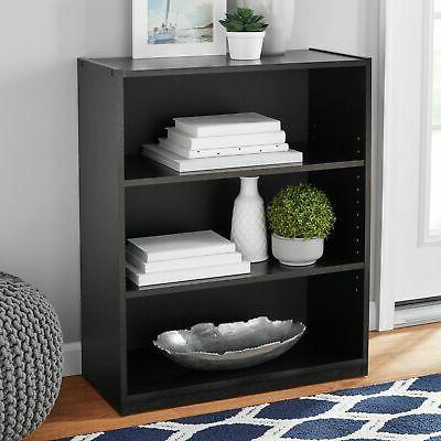 Bookshelf Wood 3-Shelf Wide Adjustable