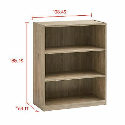 Bookshelf Wood Wide Storage Book Adjustable