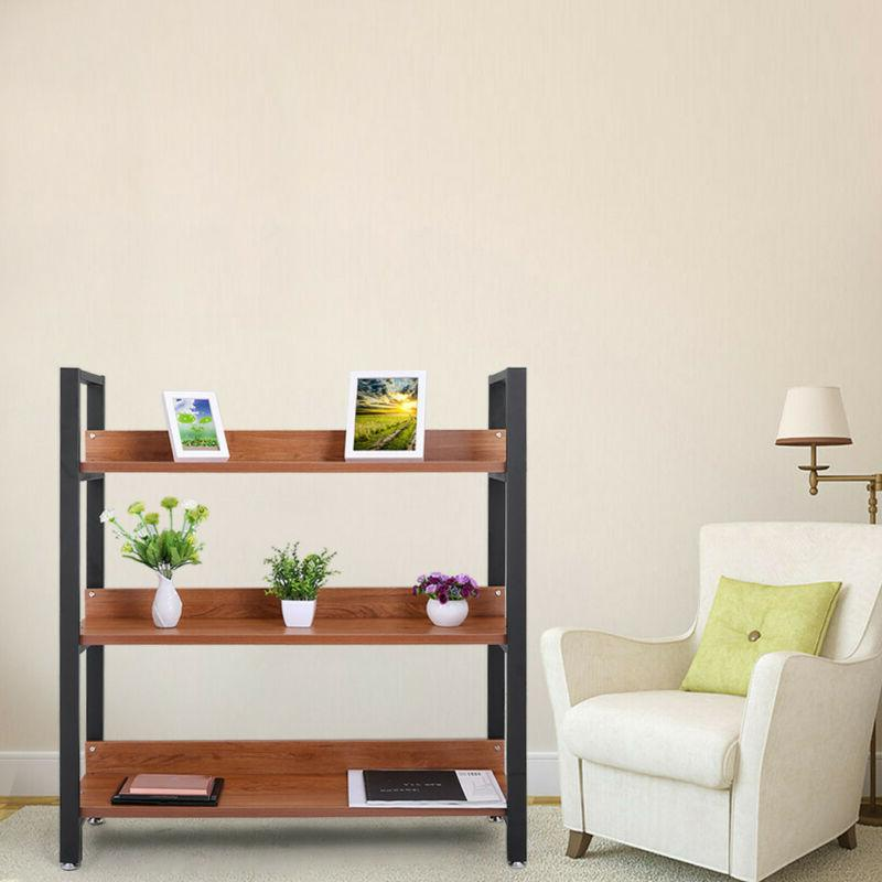 3 Tier Folding Wood Book Shelf Display Storage Shelves Bookc