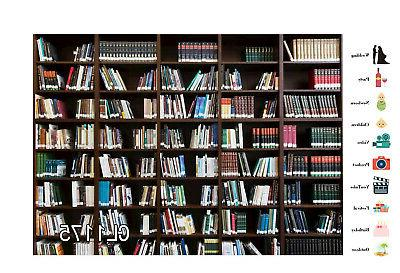 Bookshelf Retro 7x5ft Vinyl Library Photo Background LB