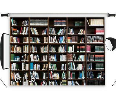 Bookshelf Retro Bookcase 7x5ft Library Photo Background LB