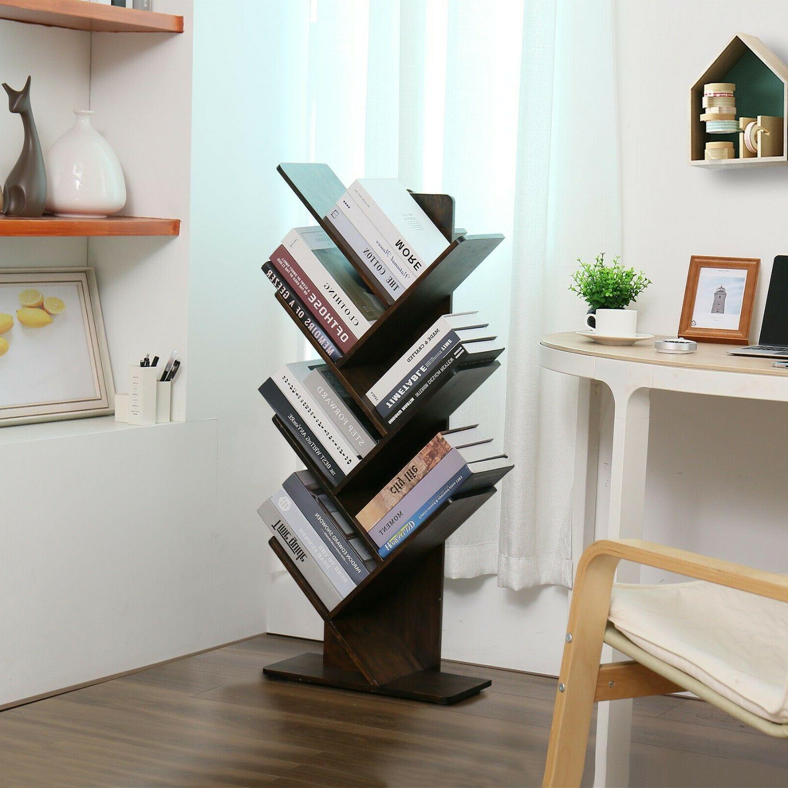 C&AHOME Wood Tree Book shelf