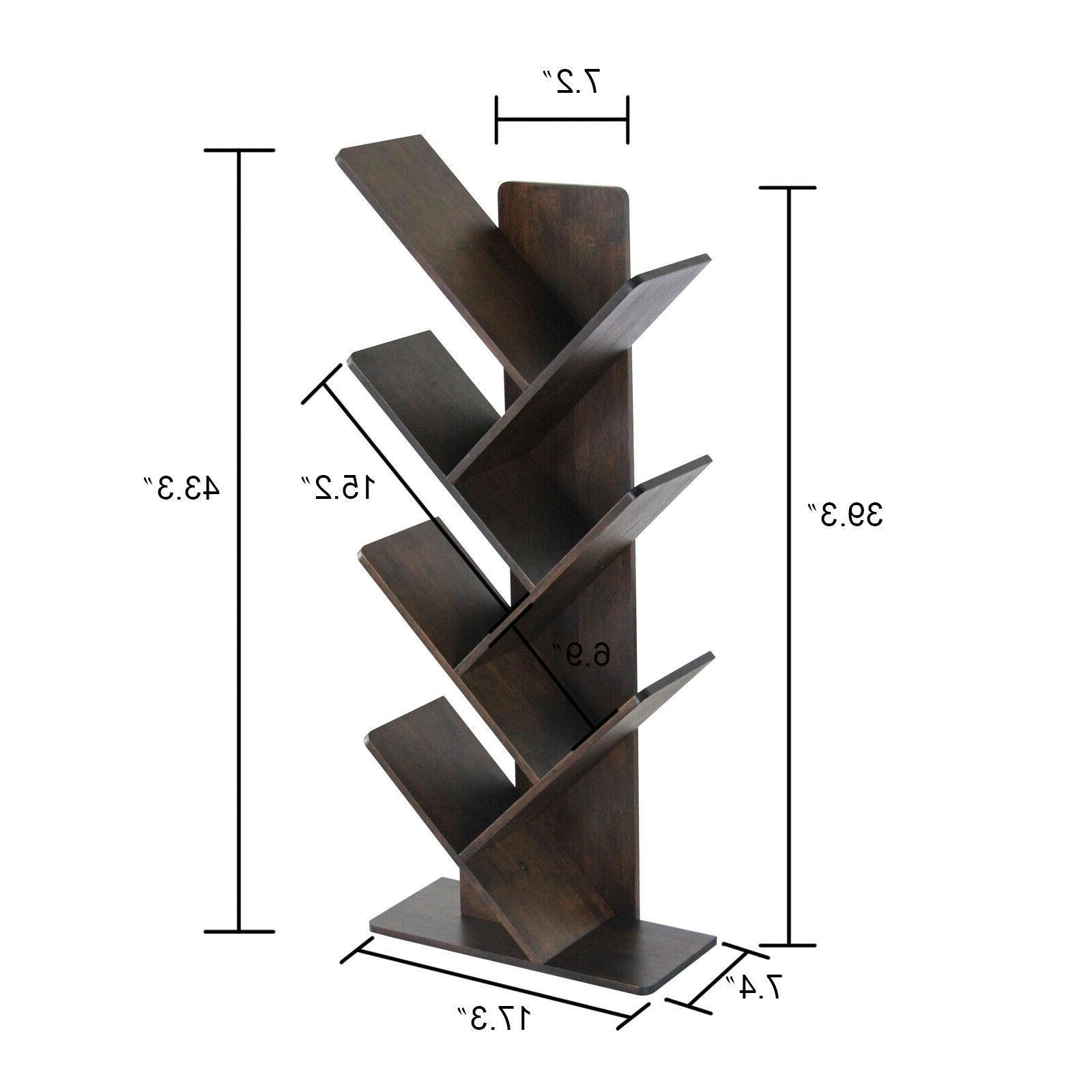 C&AHOME 7-Tier Bamboo Tree Book Rack