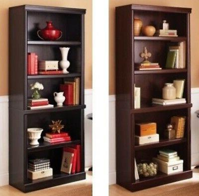 cherry espresso shelf bookcase book case shelves