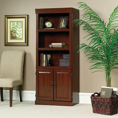 Cherry Wood 5 Shelf Bookcase Doors Bookshelf Book Case Shelv