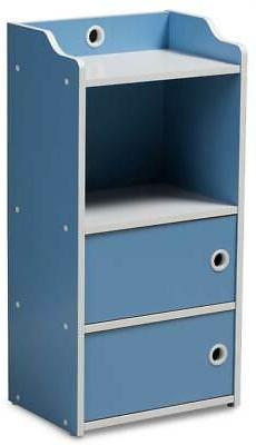 Children's 2-Door Bookcase in Blue and White Finish