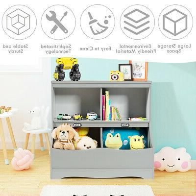 Children's Multi-Functional Storage Kids Cabinet Grey