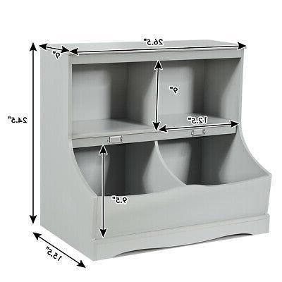 Children's Toy Storage Bin Kids Cabinet Grey