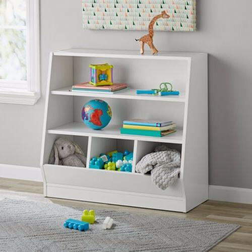 childrens white bin storage and book case
