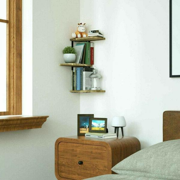 Corner Shelf of 3 Rustic Wood Floating Shelves