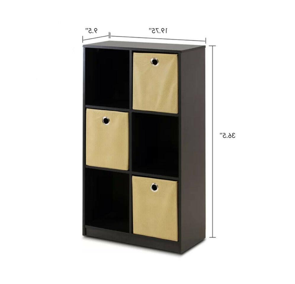CUBE 6-Cube Geometric Bookshelf Fabric Storage Bins Brown