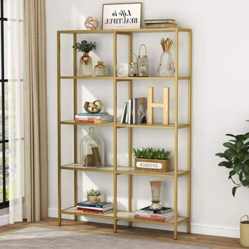 Tribesigns Gold Double Wide Open Bookcase, 5-Tier Metal Disp