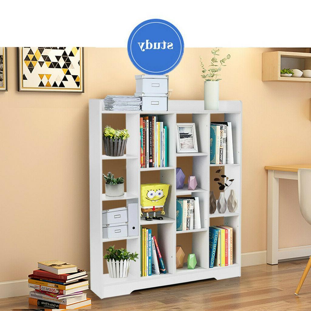 Floor Wood Bookcase Storage Organizer Case Bookshelf