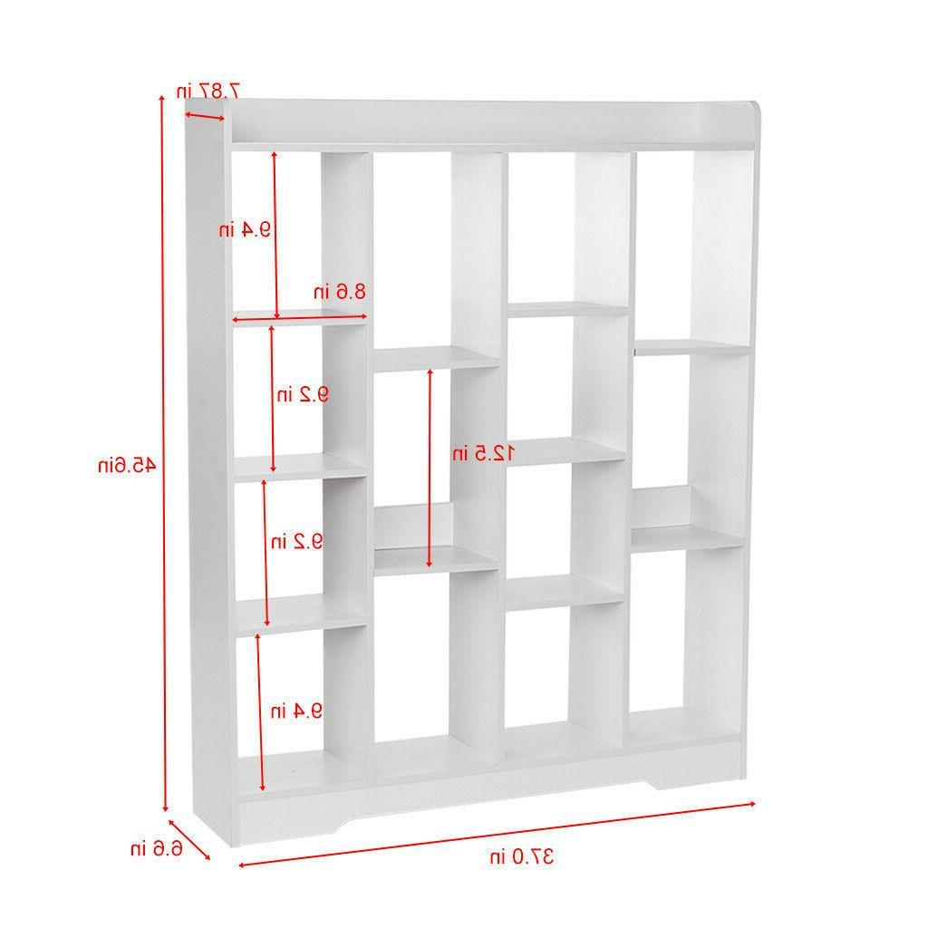 Floor Wood Bookcase Storage Case Bookshelf