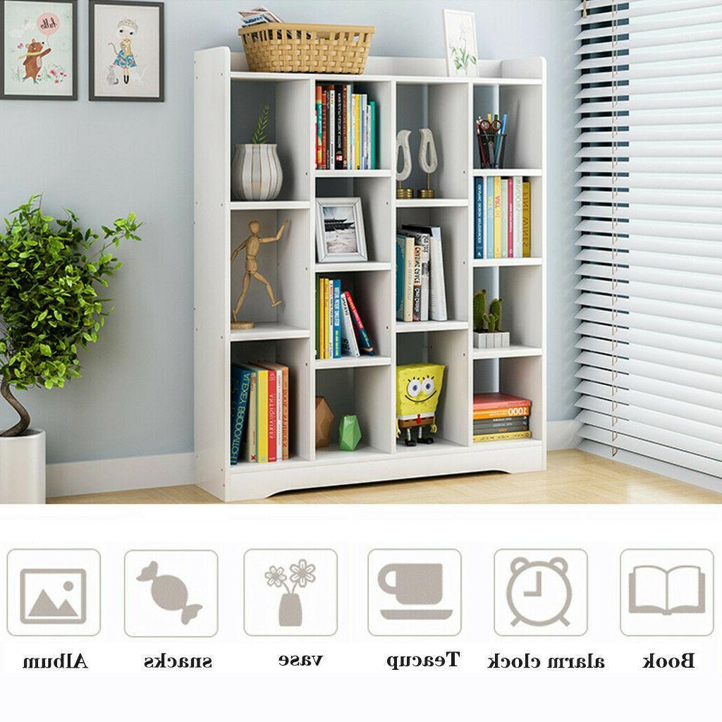 Storage Shelves Organizer Book Case White