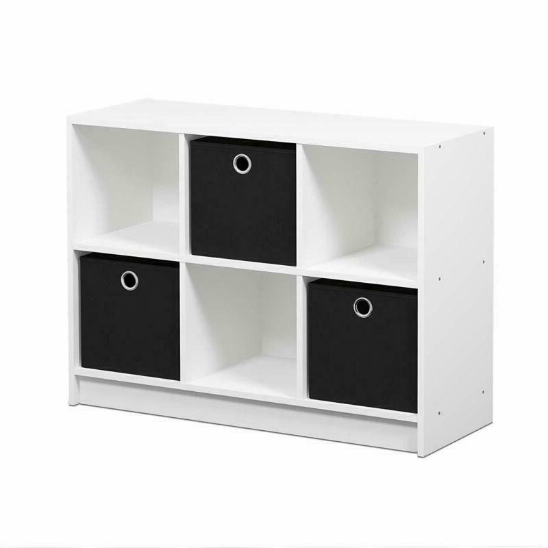 Furinno 99940Wh/Bk Basic 3X2 Bookcase Storage With Bins, Whi
