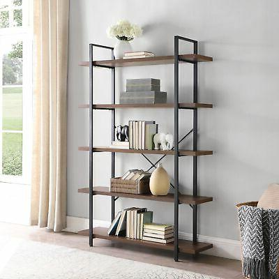 industrial bookcase open etagere wood and metal