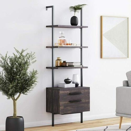 industrial bookshelf with wood and matte steel