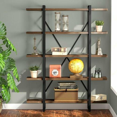 3/4/5-tier Shelf Industrial Bookshelf and Bookcase Rustic Wo