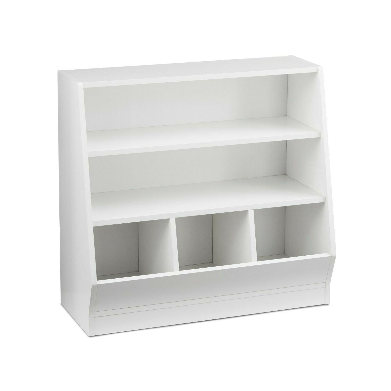 kids bin storage and book case white