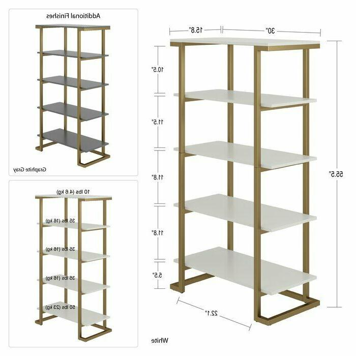 Large 5 Tier Bookcase Shelving Metal