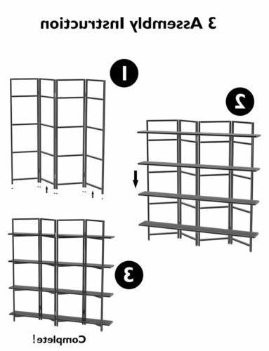 4 Folding Etagere Bookshelf Bookcase Frame