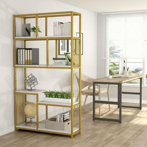 7-Open Shelf Bookcases, Etagere Bookcase with Gold Sturdy Me
